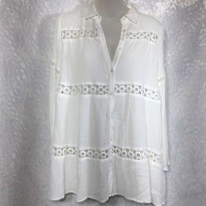 Lush white crochet boho shirt blouse top hippy s